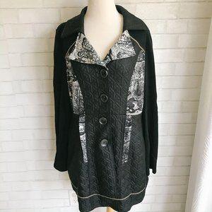 Fleur De Lis Black Quilted Long Jacket XL